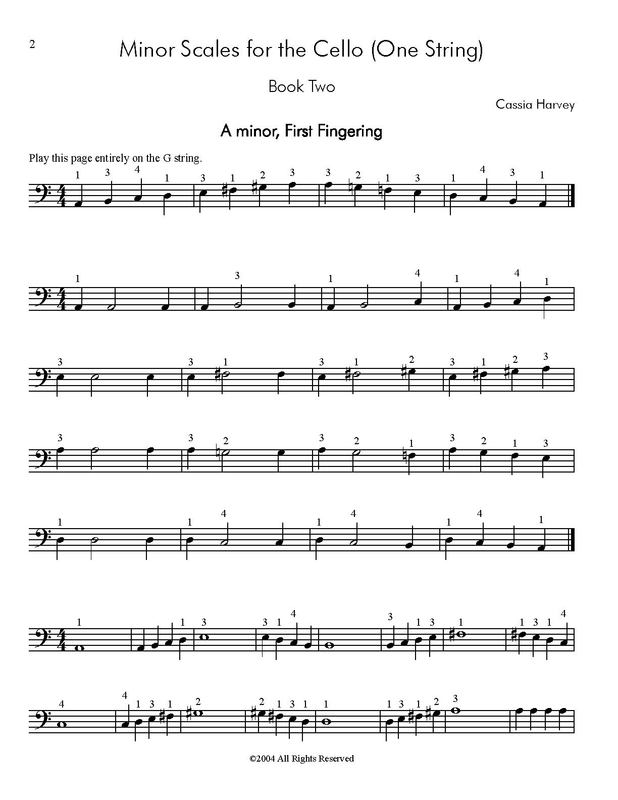 All Music Chords sheet music scale : Minor Scales for the Cello (One String), Book Two