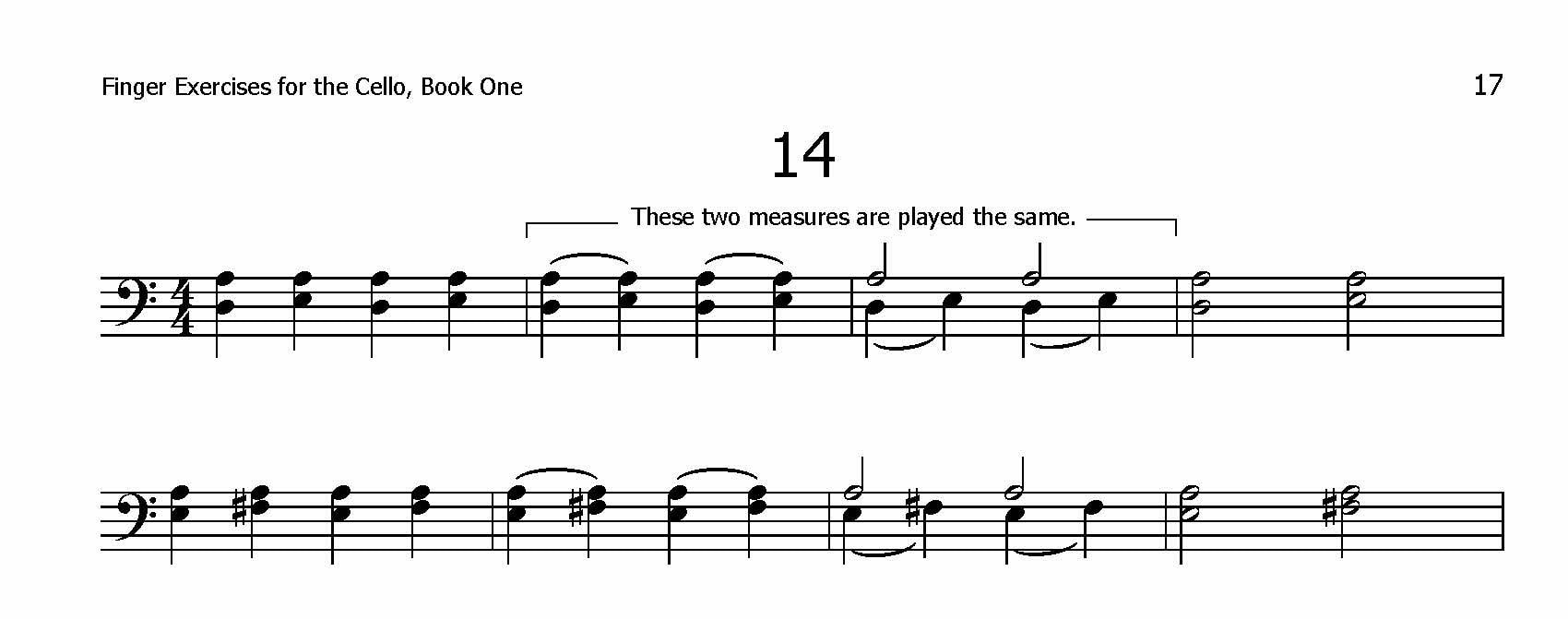 Finger Exercises for the Cello, Book One Page 14 Excerpt