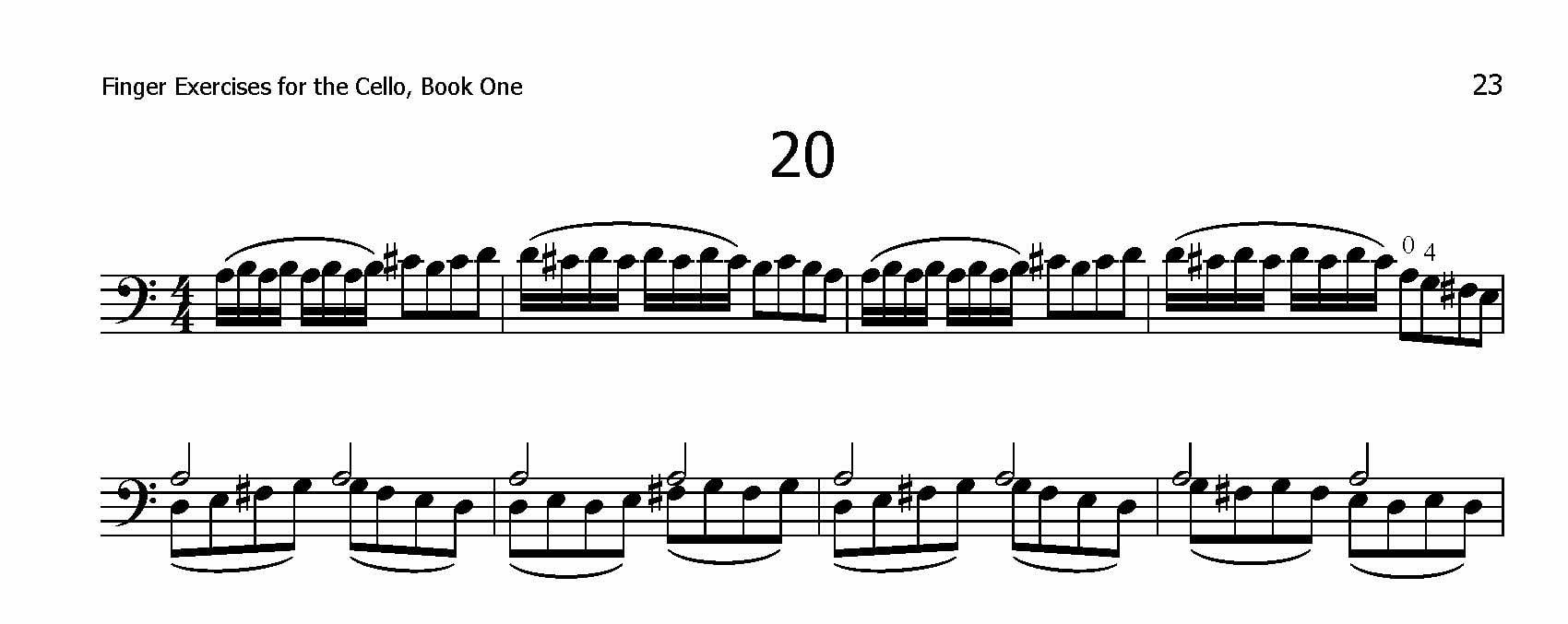 Finger Exercises for the Cello, Book One Page 20 Excerpt